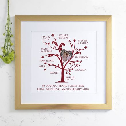 Personalised Ruby Anniversary Photo Family Tree